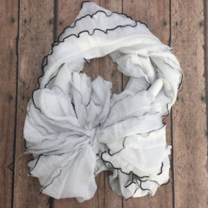 White with Black Trim Ruffle Messy Bow Headwrap