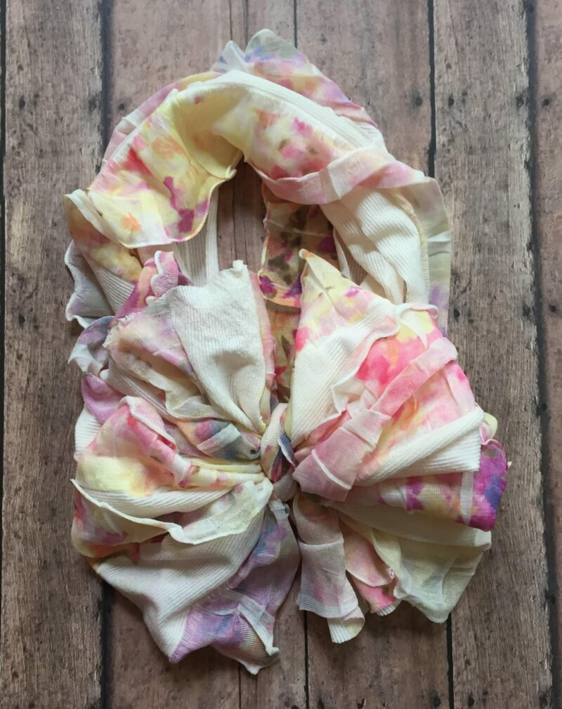 Watercolor Floral Big Ruffle Messy Bow Headwrap