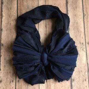 Navy Blue Ruffle Messy Bow Headwrap