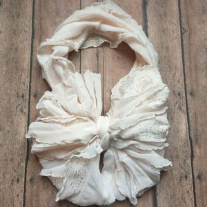 Blush with Gold Flecks Ruffle Messy Bow Headwrap