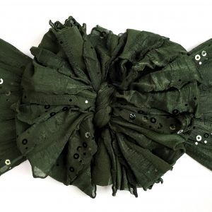 Forest Green Sequin Ruffle Messy Bow Headwrap