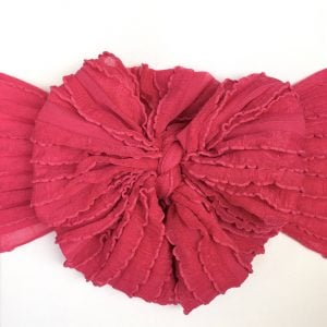 Hot Pink Ruffle Messy Bow Headwrap