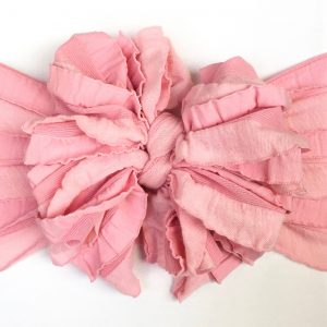 Two-toned Pink Ruffle Messy Bow Headwrap