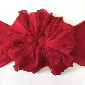 Cardinal Ruffle Messy Bow Headwrap