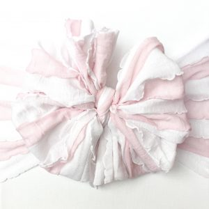 Pink and White Striped Ruffle Messy Bow Headwrap