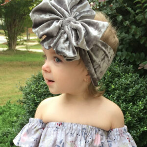 Silver Crushed Velvet Messy Bow Headwrap