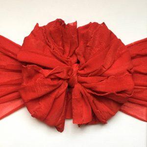 Red Orange Ruffle Messy Bow Headwrap