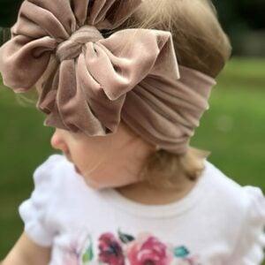 Camel Velvet Messy Bow Headwrap
