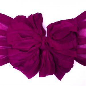 Magenta Ruffle Messy Bow Headwrap