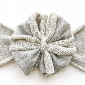 Silver Messy Bow Headwrap