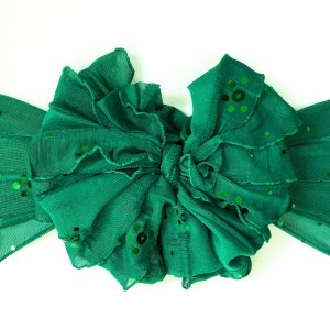 Kelly Green Sequin Ruffle Messy Bow Headwrap