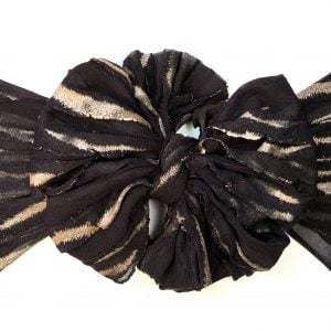 Black with Gold Stripes Ruffle Messy Bow Headwrap