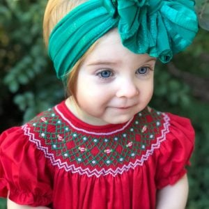 Emerald Shimmer Ruffle Messy Bow Headwrap