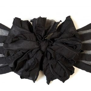 Black Ruffle Messy Bow Headwrap