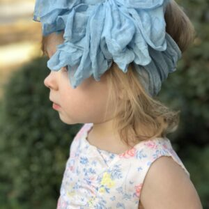 Sky Blue Ruffle Messy Bow Headwrap