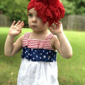 True Red Ruffle Messy Bow Headwrap