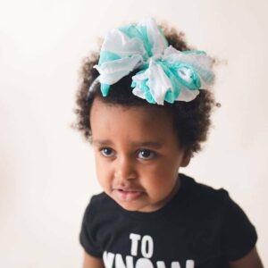 Caribbean Striped Ruffle Messy Bow Headwrap