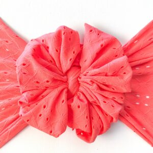 Coral Eyelet Messy Bow Headwrap