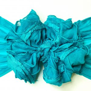 Turquoise Ruffle Messy Bow Headwrap