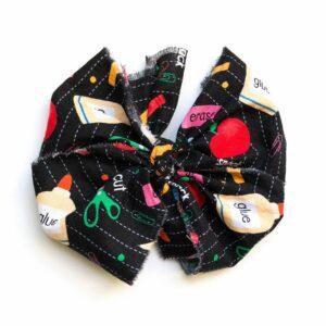 School Box Fabric Messy Bow Headwrap