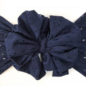 Navy Eyelet Messy Bow Headwrap