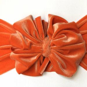 Pumpkin Velvet Messy Bow Headwrap