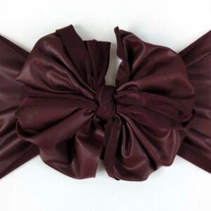 Maroon Faux Leather Messy Bow Headwrap