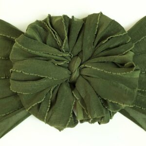 Midnight Olive Ruffle Messy Bow Headwrap