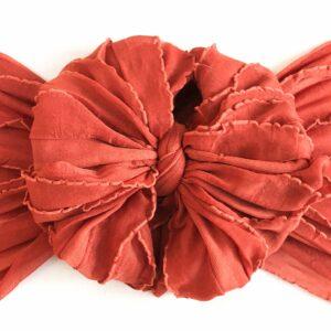 Burnt Orange Ruffle Messy Bow Headwrap