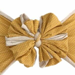 Mustard Dot Messy Bow Headwrap