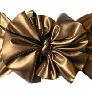 Gold Faux Leather Messy Bow Headwrap