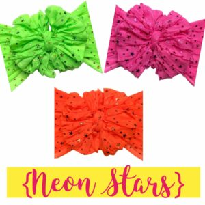 Neon Green Stars Ruffle Messy Bow Headwrap