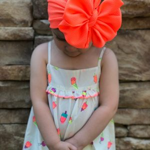 Neon Coral Messy Bow Headwrap