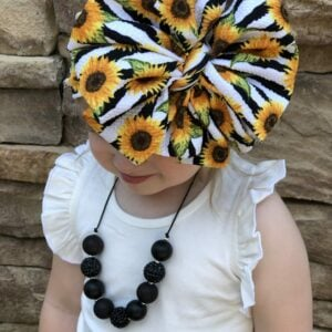Sunflower Stripes Messy Bow Headwrap
