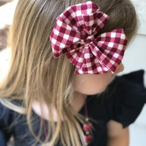 Cranberry Gingham Messy Bow Headwrap