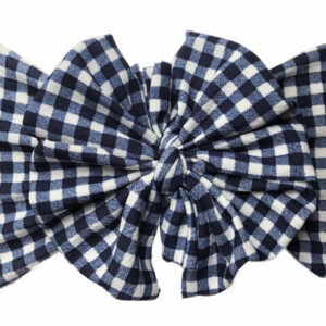 Navy Gingham Messy Bow Headwrap