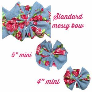 Denim Rose Messy Bow Headwrap