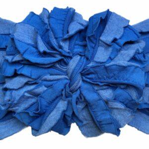 Chambray Ruffle Messy Bow Headwrap
