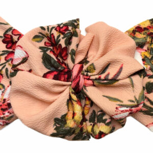 Peach Floral Liverpool Messy Bow Headwrap