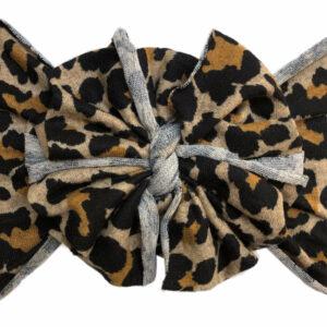 Vintage Leopard Messy Bow Headwrap