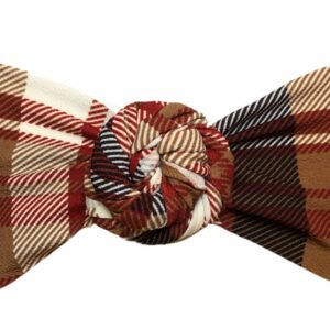 Brown Tartan Messy Bow Headwrap