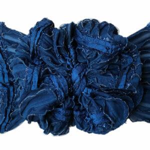 Teal Glitz Ruffle Messy Bow Headwrap