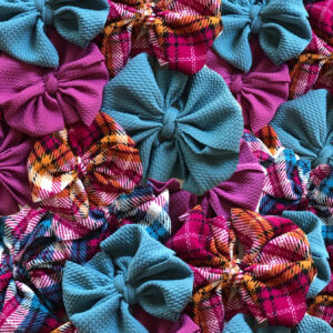 Turquoise Plaid Messy Bow Headwrap