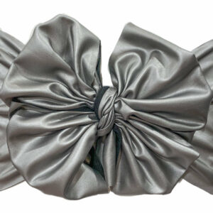 Silver Faux Leather Messy Bow Headwrap