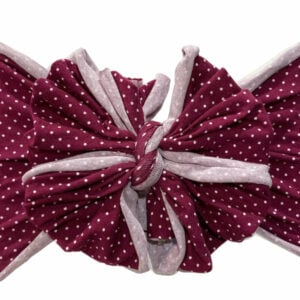 Plum Dot Messy Bow Headwrap