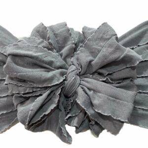 Steel Gray Ruffle Messy Bow Headwrap