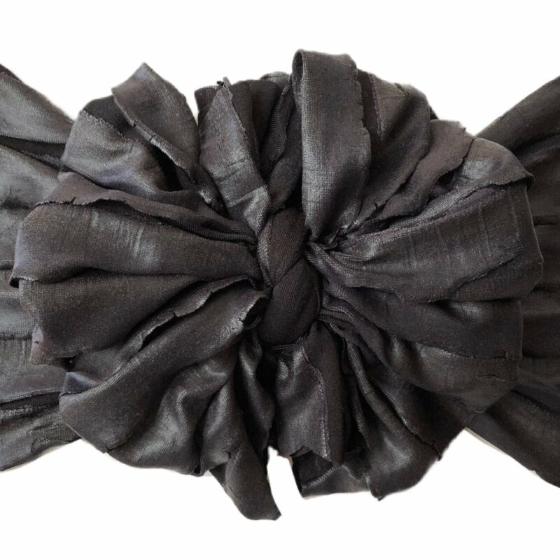 Black Faux Leather Ruffle Messy Bow Headwrap