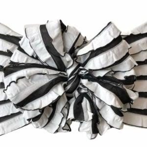 Mummy Stripes Ruffle Messy Bow Headwrap