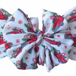 Christmas Trucks Messy Bow Headwrap