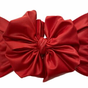 Red Faux Leather Messy Bow Headwrap